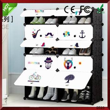 China supplier household cleaning product large space non-woven shoe rack double line simple plastic led holder