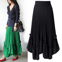 F10679A 2018 summer new pleated solid color chiffon long <strong>skirts</strong> for fat ladies