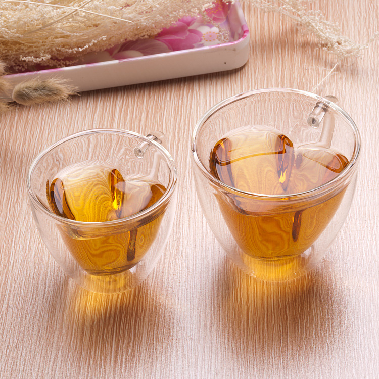 Heart Shaped Clear Double Wall Glass Tea <strong>Cup</strong> With Handle Lovers Coffee Afternoon Tea Double Layer Glass <strong>Cups</strong>