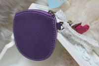 the latest fashion design oval shape customized small leather coin purse