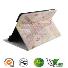 Printing smart PU flip stand leather case for iPad Air