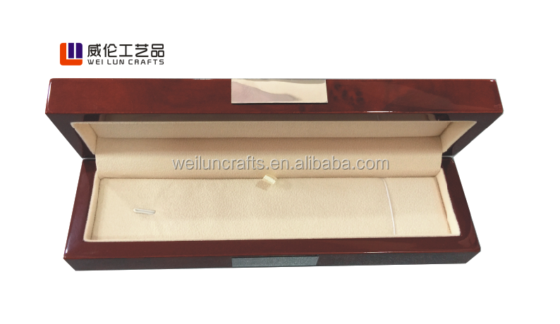 Luxury vintage printed personal logo customized packaging wooden jewelry box