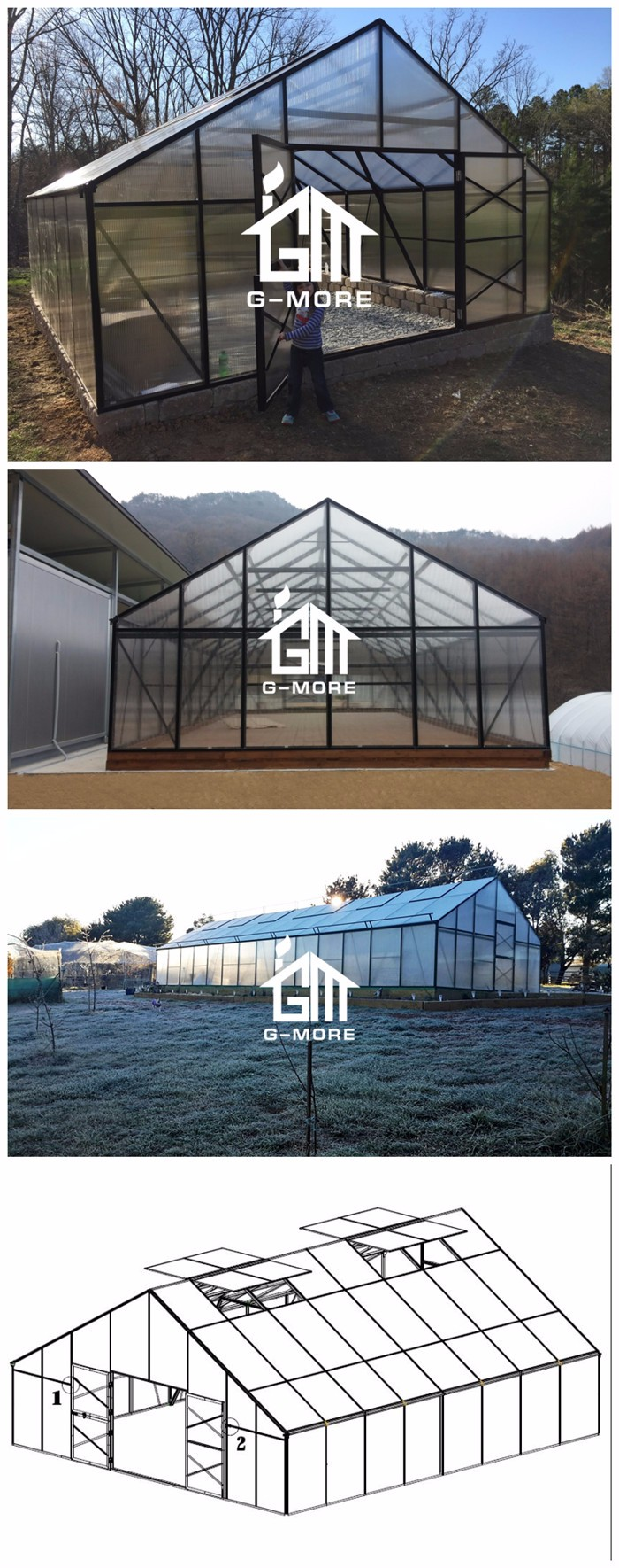 G-MORE 7 Meters width 16 Meters length Large Scale Commercial Greenhouse