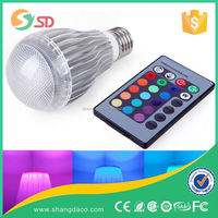 6.5W A60 e27 remote control 16 color rgb led bulb light for iphone and andriod by APP CE ROHS ERP
