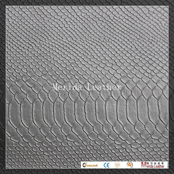 White and sliver color pvc leather raw material fake snake skin