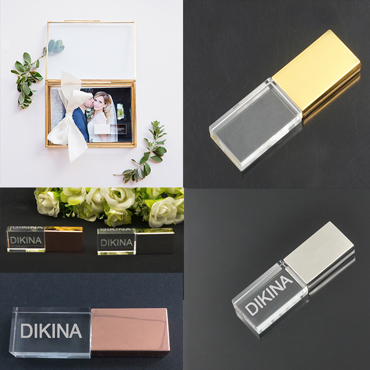 Photographers Wedding Crystal Personalized Memory Stick Rose Gold Silver Color Cap Chinese Supplier New Products USB Flash Drive