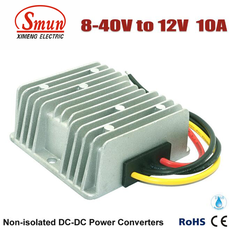 Non-isolated Waterproof 12V 24V 36V to 12V 10A 120W Boost Buck DC-DC Converter
