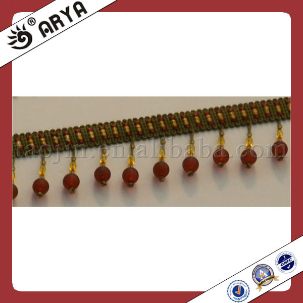 fresh beaded fringe for curtain and drapery decoration trim