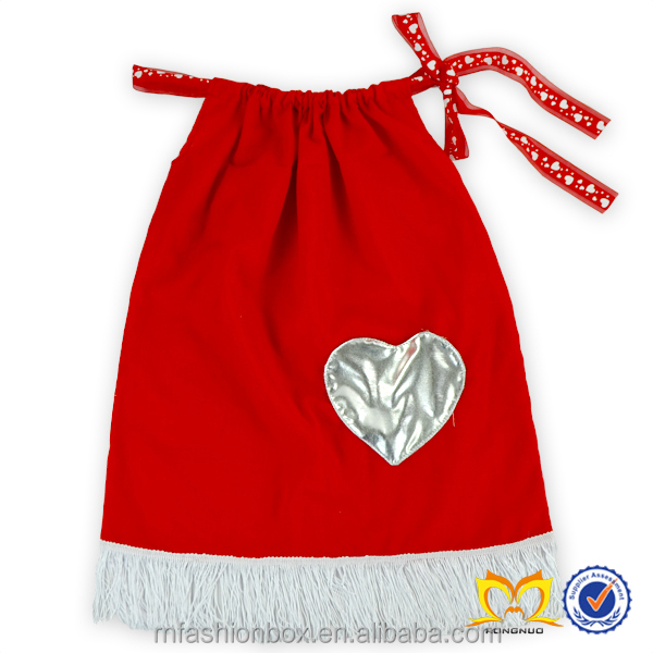 Lovely Girls Red Valentine Pillowcase Dress With Heart Pocket Baby Cotton Frocks Designs Dress Latest Dress Patterns For Girls