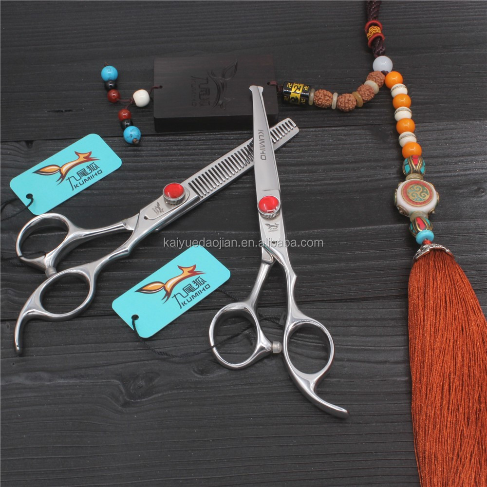 "F2E-60 6CR Hairdressing Barber Salon Scissors 6.0"" Thinning Scissors Set with round tip"