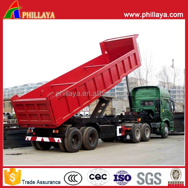 2 <strong>Axle</strong> Hydraulic Back Dump Semi Truck Gravel Sand Transport <strong>Rear</strong> Tipper Trailer