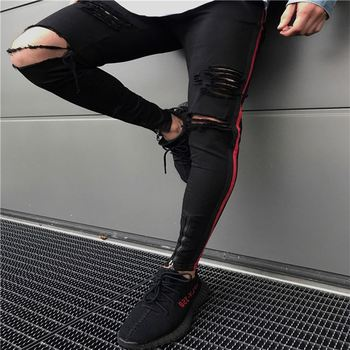 Hot Sale Men Skinny Straight Black Stretch Distressed Jeans