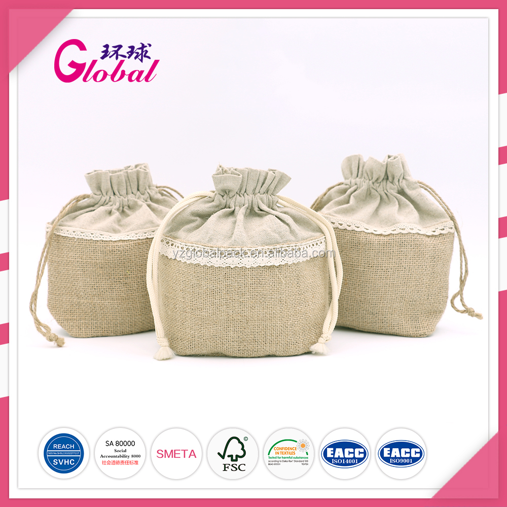 Global stylish cotton canvas drawstring packaging outdoor small gift bags