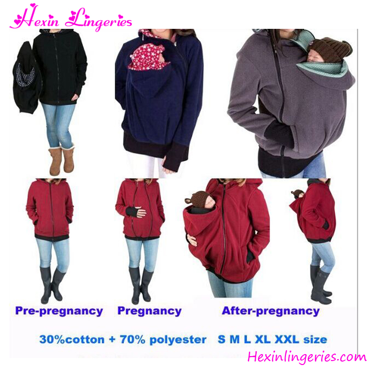 Hot Selling Maternity Woman Kangaroo Coat Baby Carrier Hoodies