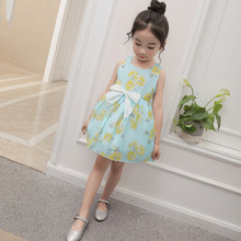 Girl's Fancy Flower Printing Sleeveless Party Wear Western Dress Made In China
