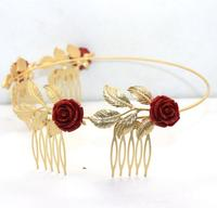 2016 Fashion Headdress Gold Plated Leaf Hair Tiaras Red Rose Baroque Crown Hair Combs Women Bridal Hairband Wedding Jewelry