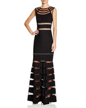 Black Elegant one piece women evening dress new design lady party wear gown