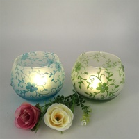 Colorful globe glass candle holder for Christmas decoration