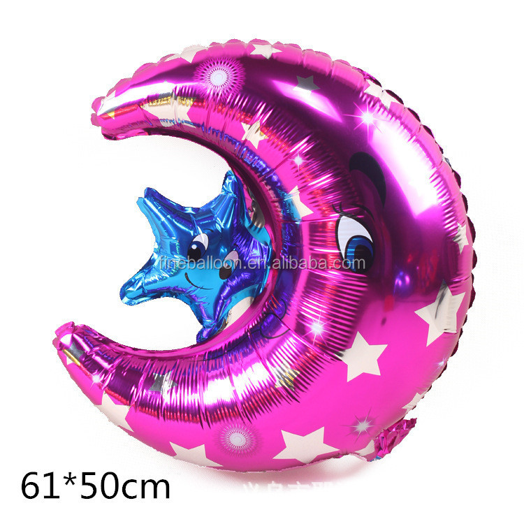 party theme moon shape decoration customized inflatable mylar balloons