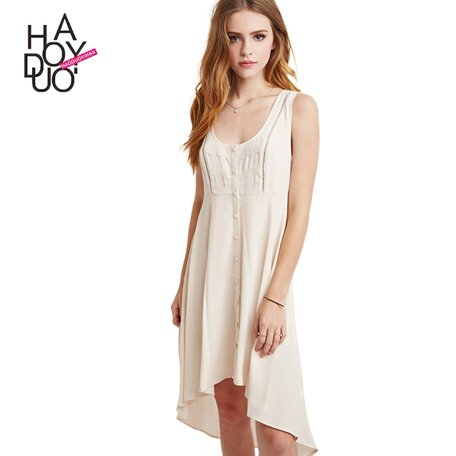 HAODUOYI Women White Lace Contrast Single-breasted High Low Casual Dress