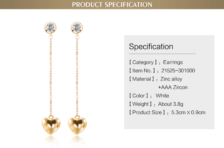 OUXI Hot-Sell design wholesale price 18k gold plated zinc alloy long chain gold heart pendant earrings