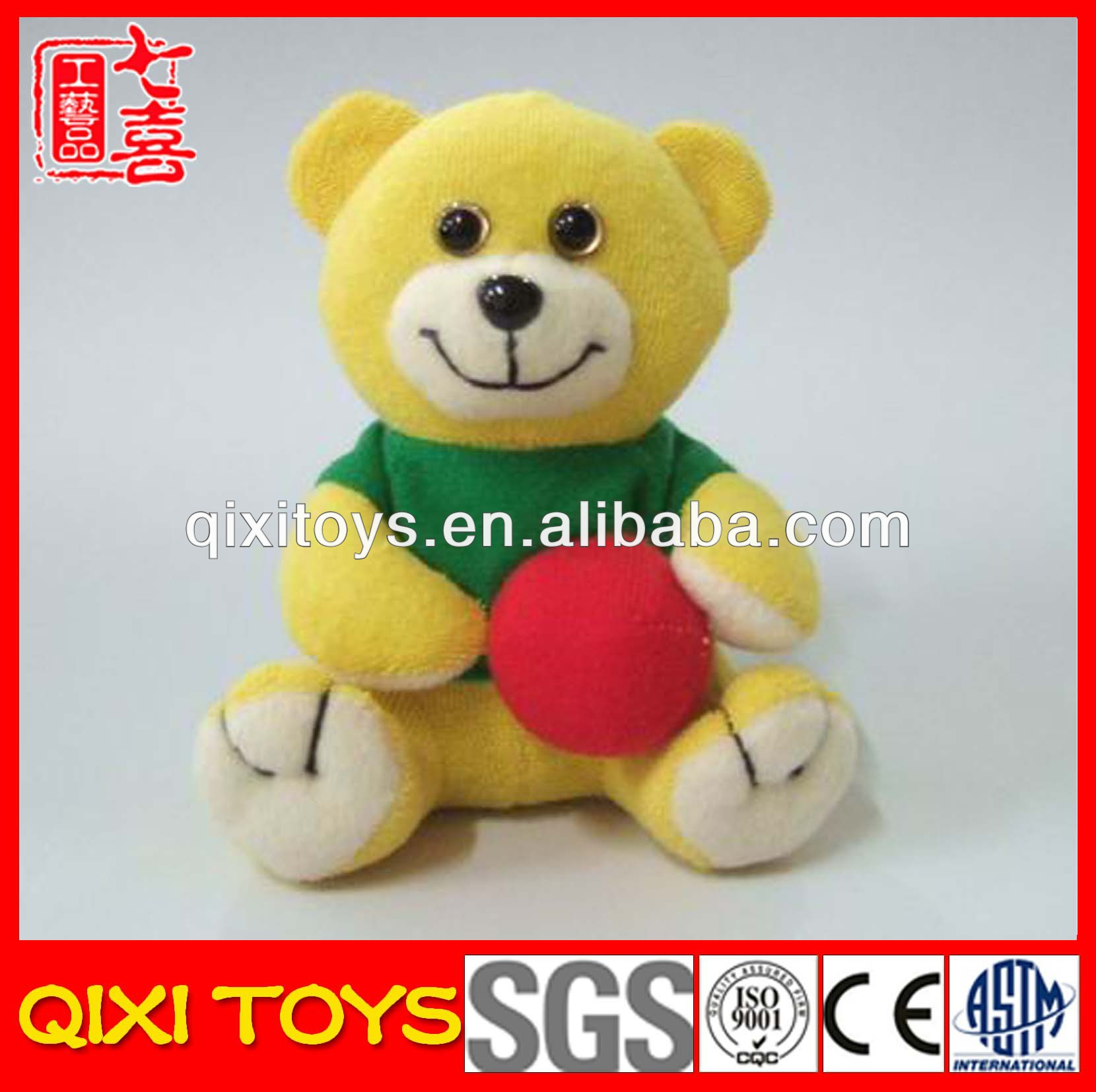 OEM fashionable plush teddy bear sport miniature teddy bear with ball