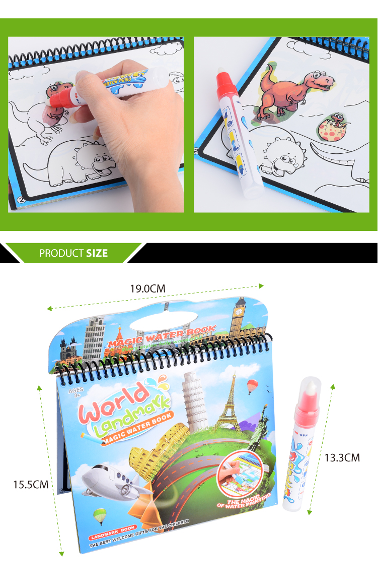Paperboard Product magic drawing water coloring book with water pen doodle mat