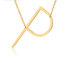 Ladies necklace letter P stainless steel gold plated jewelry