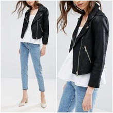high quality women black leather motorcycle jacket designs