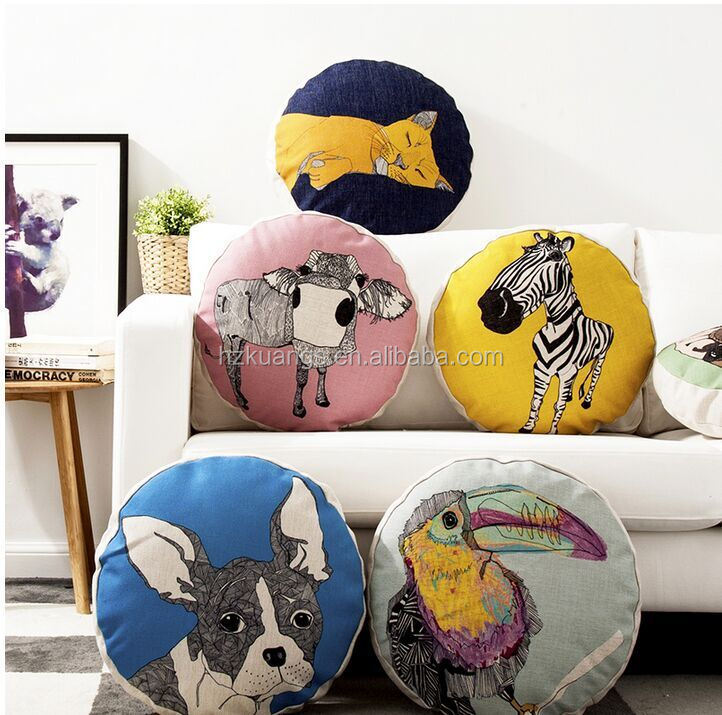 wholesale custom printed round pillow with hole