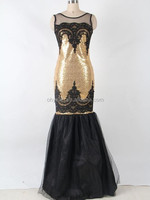 Gold sexy sequins appliques lace evening dress