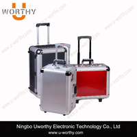 silver corner metal frame hard aluminum trolley case with handle and wheels in cheapest price