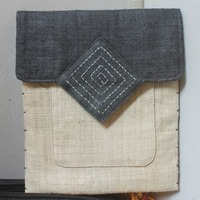 Case/bag for tablet with traditional patterns, naturally dyed from HMong ethnic group in Vietnam