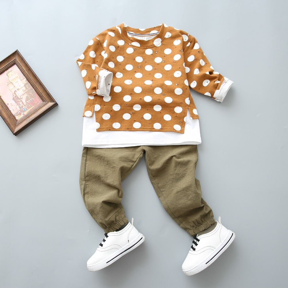Wholesale price kids clothing boys autumn matching two pcs sets clothing