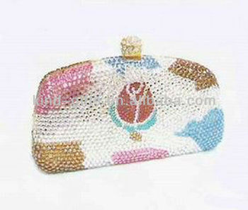 sparkling crystal bling evening bag