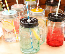 16oz glass drinking wide mouth mason jar with handle and lid