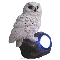 solar powered garden ornaments white owl for sale