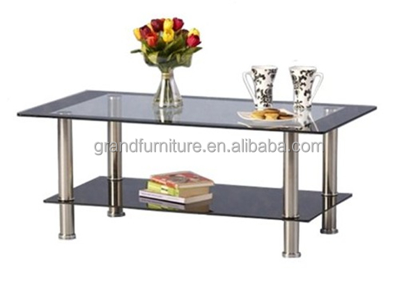 Simple Style Glass Table Coffee ,made of tempered glass and stainless tube