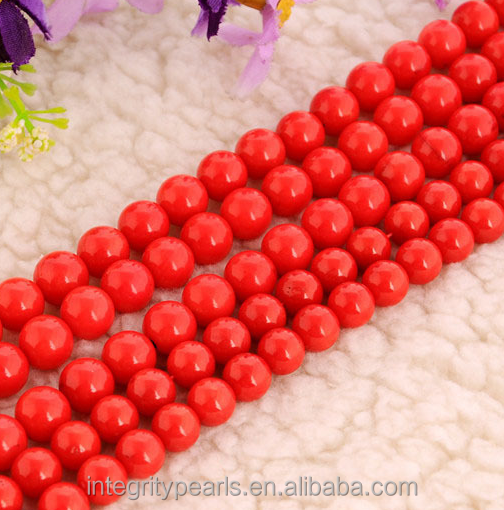 8mm red fake imitation coral jewelry beads