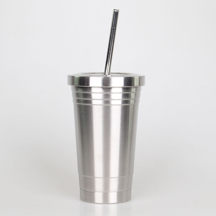 Made in China good quality food grade double wall 304 stainless steel skinny shape 450ml cup tumbler with straw