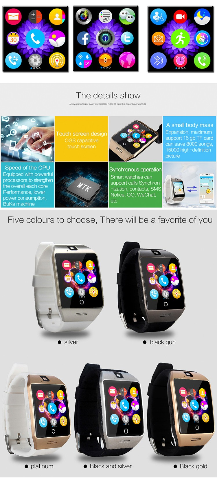 Q18S hd camera NFC supported hands free phone answering bluetooth 3.0 OGS touch screen phone smart watch