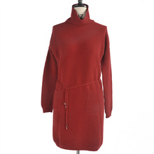 High Grade 100% cashmere Red lady cowl neck fashion sweater dress
