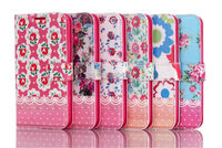 For Samsung Galaxy S5 i9600 High Quality Flower Print Design Wallet Magnetic Closure PU Leather Pocket Stand Flip Case