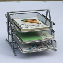 New Office School Desktop Organizer Metal Mesh Storage Basket 3 Tier Document Tray