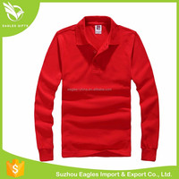 Wholesale Contrast Color Mens Long Sleeve Polo T Shirt