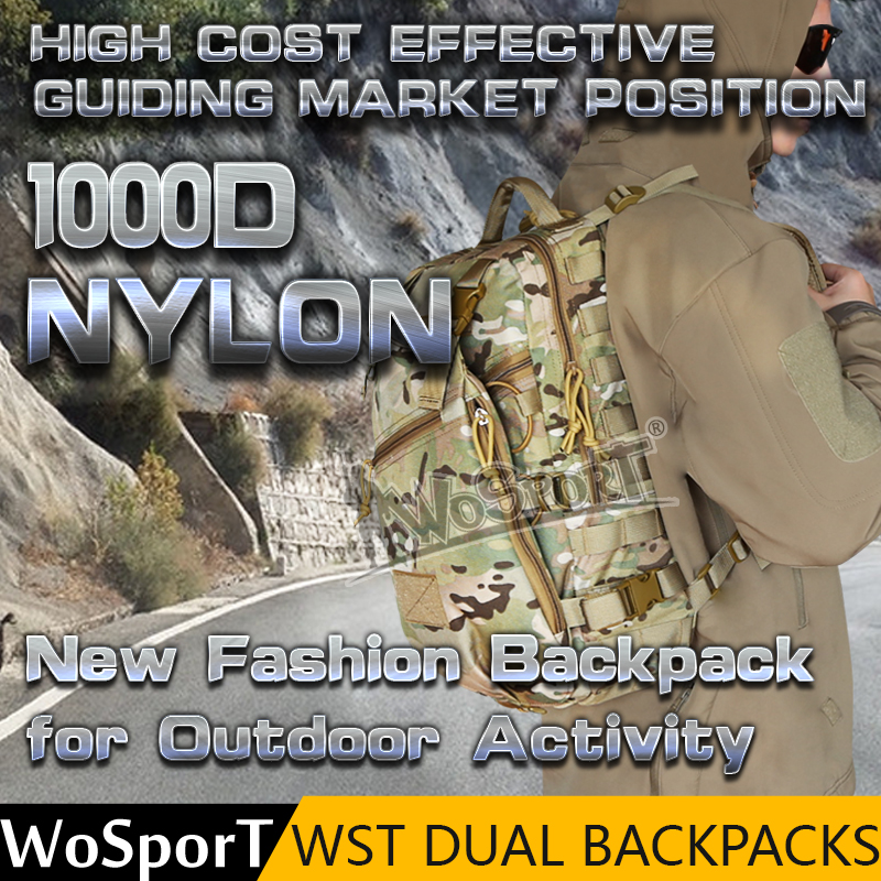 WoSporT outdoor tactical molle system teens nylon dual backpacks hiking camping bag pack