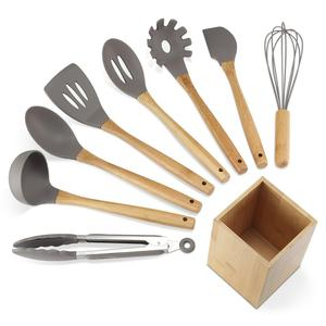 Premium Silicone Kitchen Utensils with Holder 9-Piece Cooking Utensils Set with Bamboo Wood Handles for Nonstick Cookware