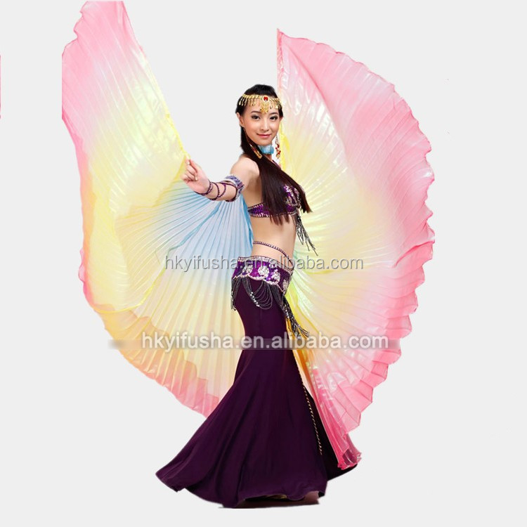 Hot sale belly dance costumes ladies assorted color rainbow belly dance Isis wings