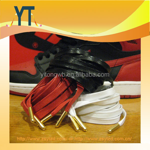 PREMIUM Flat Wax Shoe Laces GOLD Aglets For Nike Asics Yeezy Kith Jordan Space
