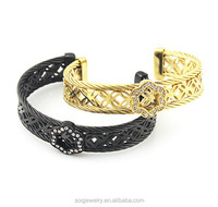 Wholesale Jewelry from Dubai for Womens Wedding Gold Bangle Bracelet with Crystal Flower